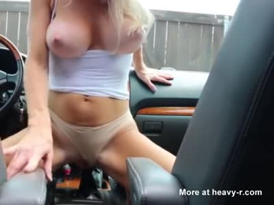 girl puts shift knob in pussy